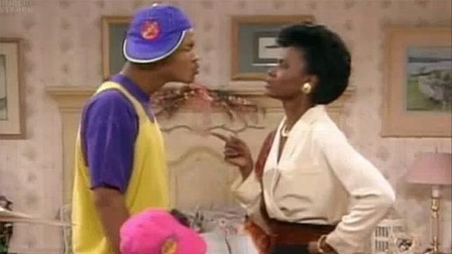 Will smith y AJnet Huber en ua escena de lel prinicpe de bel air